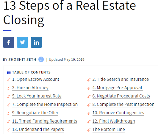 13 steps of a real estate closing