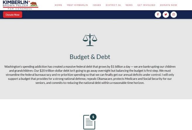 Kimberlin for Congress Website Design
