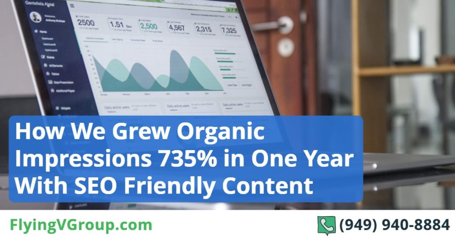 How We Grew Organic Impressions 735% in One Year With SEO Friendly Content