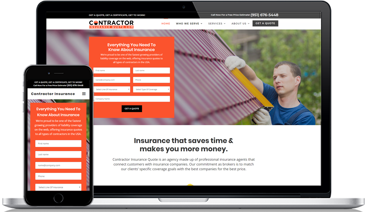 contractorinsurancequote.com website design