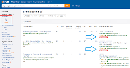 ahrefs broken backlinks