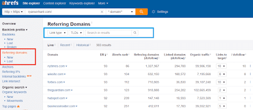 ahrefs referring domains