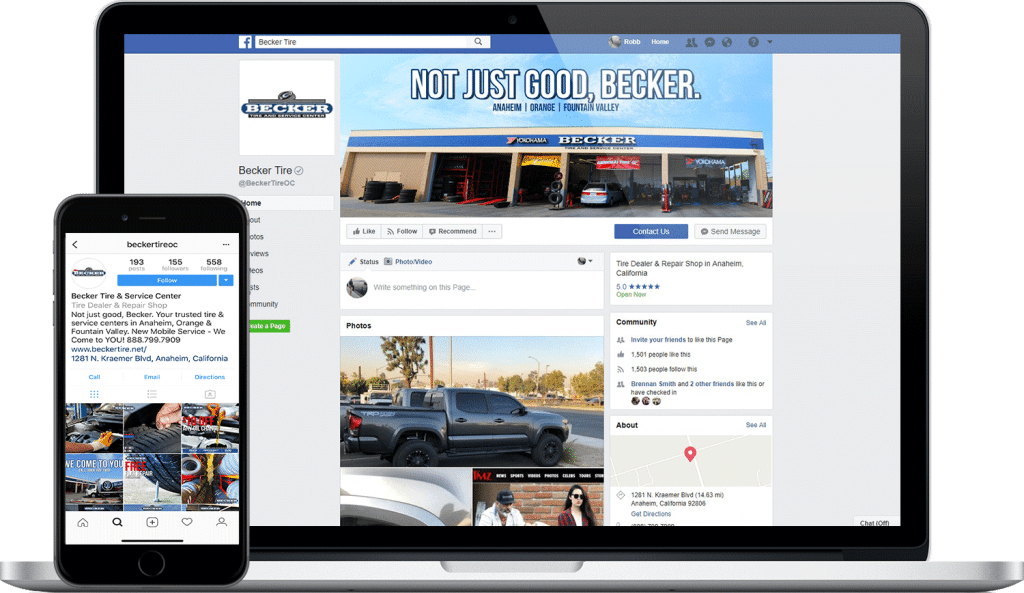 becker tire social media website screenshot
