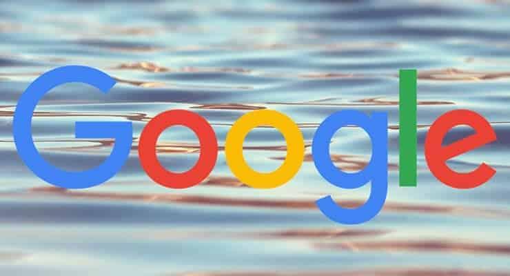 google logo on water