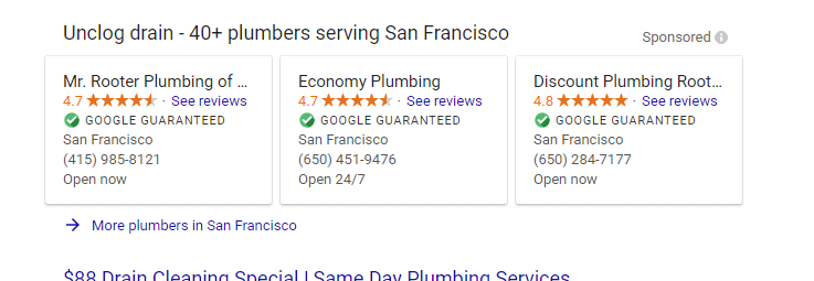 local services by google san francisco search
