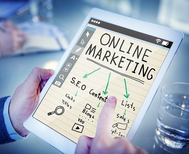 online marketing chart on tablet