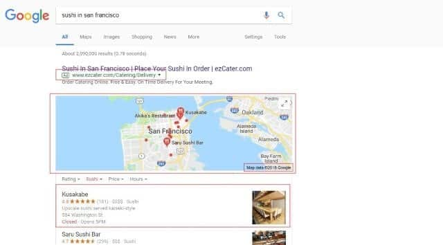 google search example of sushi in san francisco