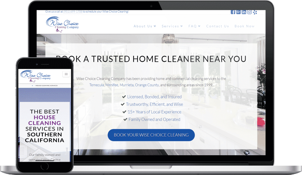 wise choice cleaning company website screenshot